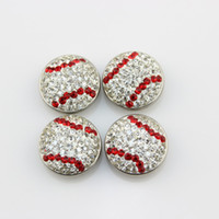 Wholesale 18mm Round Bead - 6pcs 18mm round baseball with clear rhinestone snap buttons fit ginger snap bracelates
