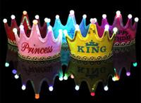 Wholesale Happy Caps Wholesale - Crown Led Happy Birthday Cap For Adult Children Colorful Hat King Princess Luminous Led Birthday Cap Hat Event Party Festival Decoration