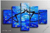 Shopping Blue Ocean Paar Tanz Abstrakte Landschaft Wall Home Decor Ölgemälde auf Leinwand