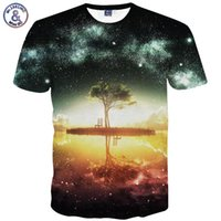 x201710 Mr.1991INC Raum Galaxy T-shirt Männer / Frauen Harajuku Hip hop Marke T-shirt 3d-druck Nightfall Baum Sommer Tops Tees t-shirt