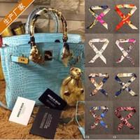 Wholesale Holiday Printed Ribbon - 31 Styles 100*4cm Women Twilly Scarf New Printed Handbag Silk Ribbon Wraps Bandanas Bow Hair Bands Decoration Bandanas CCA7254 300pcs