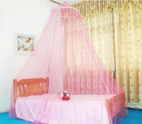 Wholesale Curtains Furniture - Wholesale- 1 pc 2017 Super Deal Elegant Round Lace Insect Bed Canopy Netting Curtain Dome Polyester Bedding Mosquito Net Home Furniture