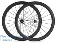 Wholesale Straight Pull Carbon - free shipping carbon wheelset 50mm powerway R36 ceramics straight pull 3K UD road clincher wheel 700C width 23mm carbon bicycle wheels