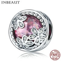 cristal 925 perlas de plata al por mayor-INBEAUT Flower abre elegantes accesorios de plata esterlina S925 con cuentas de circonita Fit Pandora Bracelet