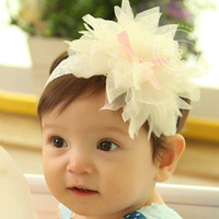 Wholesale Cheap Baby Headbands Flowers - 0-3 years old baby for cheap shipping with baby girls hair hair headdress flower headband hair gauze multilayer large children