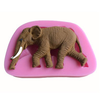 Wholesale Elephant Soap - 250pcs Cute Elephant Shape 3D Food Grade Silicone Cake Fondant Mold Soap Candle Moulds Cake Decoration DIY Tools ZA0672