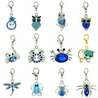 Wholesale Bulk Mixed Pendants - Wholesale Mix Sale Blue Rhinestone Floating Lobster Clasp Charms Bulk Animal Pendants DIY For Jewelry Making Accessories