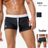 Wholesale Tight Swim Trunks Men - AQUX 2018 New Sexy Mens Swimsuit Tight Gay Men Swimming Low Waist Trunks Short Beach Front Pocket Sports Swimwear Bathing Suits