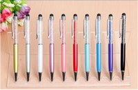 Luxe diamant Stylus stylo à bille pour téléphone mobile iPhone 5 5S S4 S5 Tablet PC iPad Tab S 2 en 1 strass tactile capacitif stylo à bille