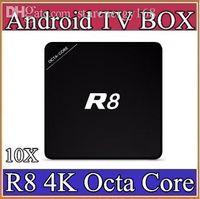 caja inteligente dongle android al por mayor-10X TV Box R8 1G / 8G RK3368 Octa Core H.265 4K2K Octa Core Android 5.1 Smart TV Box 4K Smart Media Player BT4.0 Multi idioma 3-D8