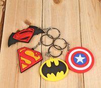 Wholesale batman v superman for sale - Group buy 40pcs Superheroes Superman Batman Captain America Shield Batman V Superman PVC Figures Keychains Pendants