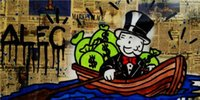 Wholesale Boats Canvas Wall Arts - Alec Monopoly Boat, High Quality genuine Hand Painted Wall Decor Alec monopoly Pop Art Oil Painting On Canvas,