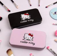 hello kitty mini fırça kutusu toptan satış-7 Adet Demir Mini Kutusu ile Hello Kitty Makyaj Fırça Seti makyaj Profesyonel Yüz Fırçalar Siyah / Pembe Maquiagem Kadın Kızlar Hediyel ...