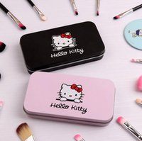 Wholesale iron box brush for sale - 7Pcs Hello Kitty Makeup Brush Set with Iron Mini Box Make up Professional Facial Brushes Black Pink Maquiagem Women Girls Gifts