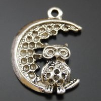 Wholesale owl moon resale online - 10PCS Antique Silver Alloy Owl Moon Pendant Charms Jewelry Finding mm jewelry making