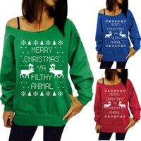 Wholesale Long Christmas Blouse - Womens Ladies Letter Animal Print Shirts Hoodies Sweater Sweatshirt Off Shoulder Pullover Christmas Party Tops Blouse