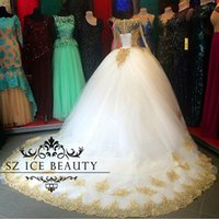Wholesale Simple Wedding Dress Muslim Woman - Muslim Saudi Arabia Long Sleeves Wedding Dresses Gold Appliques Crystal Puffy Ball Gown Illusion Jewel White Tulle Bridal Women 2017