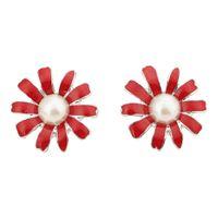 Wholesale Chrysanthemum Pearl - Elegant Girls Classic Trendy Chrysanthemum Flower Imitation Pearl Stud Earrings for Women Jewelry