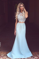 Wholesale Top Designer Gowns - Designer Prom Gowns Long Cheap Two Piece Prom Dresses Sheer Top Lace Party Evening Dresses 2016