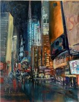 new york times al por mayor-Times Square Nocturne New York City VIEWS, pintura al óleo pintada a mano pura del arte abstracto en Canvas.any tamaño modificado para requisitos particulares aceptado