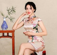 Wholesale Qi Pao Long - Chinese dress In the long slim banquet silk cheongsam dress wholesale Fall fashion silk qi-pao dress improved