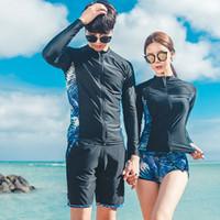 Wholesale couple swimwear online - 2018 new style couples hot sexy long sleeve Rash Guard pieces swimwear Surfing Suit wetsuit bathing suit swimsuit beachwear