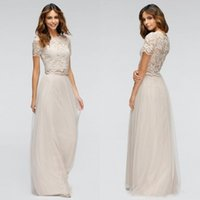 Wholesale Lace See Through Bridesmaid Dresses - 2016 Popular Two Pieces Bridesmaid Dresses Country Style Long Formal Maid of Honor Gowns Lace Top Short Sleeves See Through Back Tulle Dress