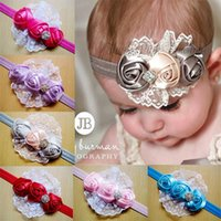 Wholesale Diamond Flower Lace Headband - 2017 Baby Flowers Headband Hair Bands headwear Children new children hair with roses Baby Headband lace flower hair Rhinestones Diamond