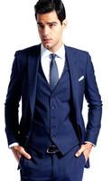 Wholesale Groom Attire Black Men - Peak Iapels, Blue Custom Wedding Dress And Groom Suit Handsome Man Suit The Groom Wedding Suit + Coat, Vest And Tie (Pants)Business Attire
