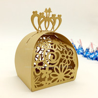 Wholesale Laser Cut Paper Birdcages - Free shipping Laser Cut Gold Birdcage Wedding Candy Box in Pearlescent Paper Box Wedding Favors and Gifts Chocolate Box