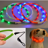 Wholesale Rechargeable Lighted Dog Collars - Dog Supplies Pet Collars USB Rechargeable Pet Collar LED Adjustable Flashing Light Waterproof Dog Band Pet Supplies