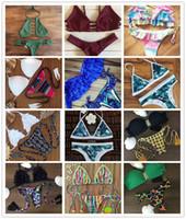 Wholesale Bikini Brazil - 2016 Brazil Bikini Womens Knit Bikini Set Push up Bandeau Padded Lace Floral Clothing Swimsuit Swimwear Wholesale Swimming