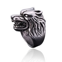 Atacado- Moda Wolf Head Rings For Men Rock Punk Finger Rings Cool Biker Jóias Design clássico Super Animal Ring Drop Ship US Size8-10