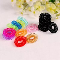 Wholesale Plastic Wearing - Children Candy Colored Telephone Line Elastic Hair Bands Hair ties Hair ring hair wear Hair Accessories Transparent color Hairbands A08