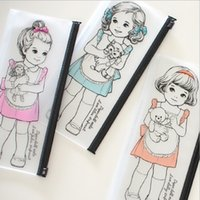 Wholesale Paper Doll Pencil - Wholesale-Korean Kawaii Paper Doll Girl Series Waterproof PVC Pencil Case Transparent Pencil Bag Wash Bag Clear Pouch Bag H1543