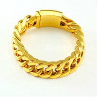 Wholesale Heavy Clay - Heavy Cool 316L Stainless Steel Charms Bracelet Gold Curb Cuban Chain Men's Favorite Gift 8.66""