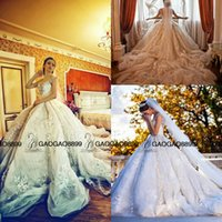 Cheap white luxury church sheer wedding dress - 2016 Michael Cinco Luxury 3D Floral Garden Ball Gown Wedding Dresses Stunning Detail Sweetheart Royal Train Church Bridal Wedding Gown