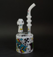 Wholesale Decal Colorful - 8 inches White nexus glass puck Dab Rig with 14.5mm joint and colorful decals glass water pipes puck bong