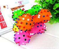 Wholesale Pet Dumbbell - Dog Toys Colorful Dotted Dumbbell Shaped Dog Toys Squeeze Squeaky Faux Bone Pet Chew Toys For Dogs