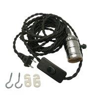 Wholesale E27 Light Socket Cord - 15ft 4.5m Vintage Extension Hanging Lantern Twisted Textile Cord US Plug w E26 E27 Medium Base Socket & On off Switch for Pendant Lighting