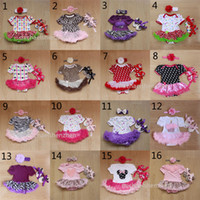 Wholesale Leopard Design Dresses - 34 Design Baby Christmas Xmas Minnie rompers 3pcs set suits happy birthday Newborn national flag girl Lace rompers leopard dress shoes B001