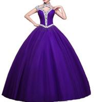 görüntü parıltısı toptan satış-2019 Işıltılı Kristal Yüksek Boyun Quinceanera Elbiseler Yeni Gerçek Görüntü Mor Lace up Tatlı Cap Kollu Ile 15 Yıl Prenses Parti Elbiseler