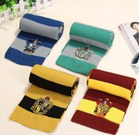 Wholesale College Halloween Costumes - 17X170CM New Fashion 4 Colors College Scarf Harry Potter Gryffindor Series Scarf With Badge Cosplay Knit Scarves Halloween Costumes