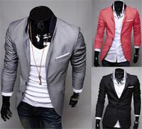 casaco elegante longo mens venda por atacado-Moda Inverno Preto Cinza Vermelho Mens Casual Roupas de Algodão de Manga Longa Casual Slim Fit Elegante Terno Blazer Casacos Jaquetas