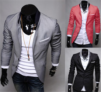 mens red casual blazer toptan satış-Moda Kış Siyah Kırmızı Gri Erkek Casual Giyim Pamuk Uzun Kollu Casual Slim Fit Şık Suit Blazer Coats Ceketler