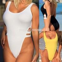 Wholesale Low Cut Swimwear Women - New Black Yellow Sexy high cut swimsuit one piece Swimwear Women Backless Bathing suit Beachwear Monokini bather bodysuit V217