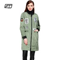 Fitaylor nuove donne autunno Embroidery Trench Coats Stampa di fumetto sottile Windbreaker Baseball Casual Hooded Green Militare Outwear