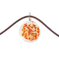 pendentif boule de fleurs achat en gros de-Fleurs en soie bourrées collier de fleurs séchées verre boule en verre temps pierres précieuses en cuir pendentif chaîne de clavicule