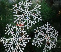 ingrosso applique dell'albero di natale-11cm Albero di Natale Fiocchi di neve Decorazioni Ornamenti Bianco XMAS Fiocco di neve Charms Ornamenti Applique per albero 1 set = 1 borsa = 3 pezzi