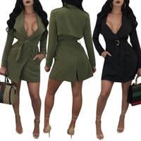 Wholesale Women Night Hot Dress - 2017 Hot Sale Exotic designer casual dress women black deep v neck full sleeve dress autumn army green back split dress